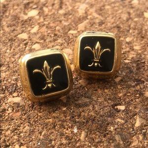 Vintage earrings black & golden